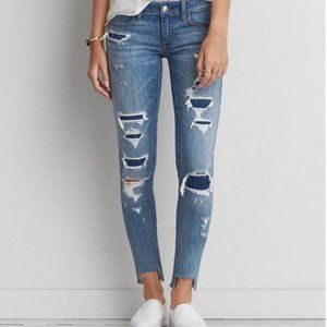 American Eagle SuperLow Distressed Jeggings Size 0